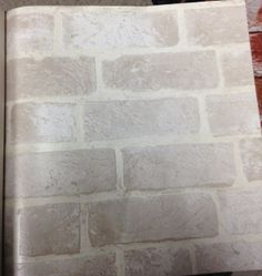 """Off-White Brick Wallpaper. Textured """"weathered"""" feeling and look. Pattern# HE1045 Maybe for the corner where my bed is"""