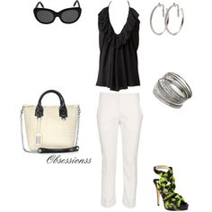 Great outfit to throw a black or white blazer over & add. a dark pump for a day/work outfit.. take off the blazer add those. hot green pumps and you're  set for a night. on the town