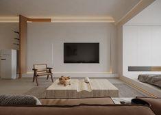 与曲线对话 on Behance Living Room Modern, Home Living Room, Living Room Designs, Apartment Interior, Living Room Interior, Tv Unit Interior Design, Dream Home Design, Shop Interiors, Furniture Design