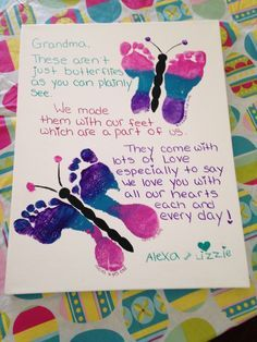 Mother's Day idea --Butterfly Footprints with a special poem. Mother's Day idea --Butterfly Footprints with a special poem. This is a birthday gift for my mom from my two daughters. Grandparents Day Crafts, Mothers Day Crafts For Kids, Diy Mothers Day Gifts, Fathers Day Crafts, Mothers Day Cards, Grandparent Gifts, Mothers Day Ideas, Mothers Day Baskets, Daycare Crafts