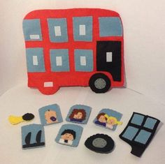 Wheels on the bus hand puppet set by JandELearning on Etsy