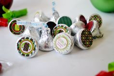 Ugly Christmas Sweater Party Printable Kiss Stickers. Such a cute idea for having out in bowls at an Ugly Sweater Party. Or bag some up as take home favors too.