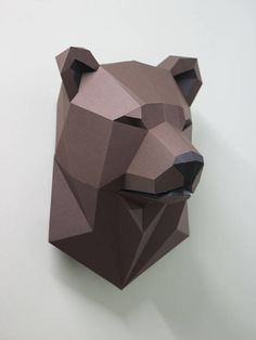 Papercraft Bear head pepakura Low Poly Paper Sculpture DIY gift Decor for home and office pattern template animal trophy polygonal 3d Paper Crafts, Paper Toys, Arts And Crafts, Welding Art, Welding Projects, Cardboard Mask, Geometric Bear, Polygon Art, 3d Figures