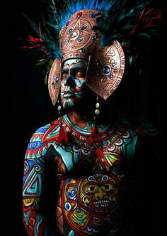 "neomexicanismos: "" Tonatiuh "" Source: Lymari Millot - Make Up & Body Paint Artist - Los Angeles Because that's the proper way. Religions Du Monde, Cultures Du Monde, World Cultures, We Are The World, People Of The World, Aztecas Art, Arte Tribal, Aztec Warrior, Mexican Art"