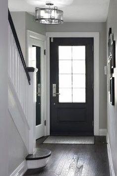 Dark wood floor light grey walls white trim Home Color Schemes