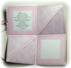 """Jeg fikk bestilling på et rosa babykort, og sånn ble det. Motivet er fra """"Serendipety"""", og jeg har fargelagt med Copics. Teksten inne i kort..."""