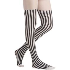 ModCloth Pinup Vertical Vogue Tights ($18) ❤ liked on Polyvore featuring intimates, hosiery, tights, socks, leggings, socks and tights, tall tights, black and white stockings, white hosiery and transparent tights