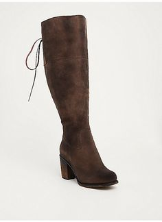 TORRID : Distressed Lace Up Back Over-the-Knee Boots (Wide Width & Wide Calf)