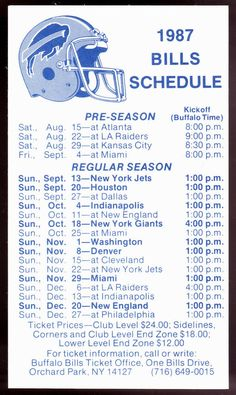 1987 BUFFALO BILLS OLDSMOBILE FOOTBALL POCKET SCHEDULE FREE SHIPPING #Pocket #SCHEDULE