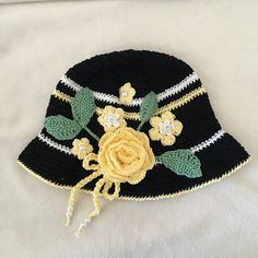 Black and Yellow Crochet Hat Easter Bonnet Beach by AZenCreation