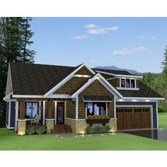 AmazingPlans.com House Plan #ro-1816 - Cape Cod - New England, Country, Ranch, Southern, Traditional, Craftsman, Narrow Lot, Photo