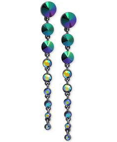 GUESS Hematite-Tone Graduated Stone Drop Earrings