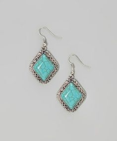 Look what I found on #zulily! Silver & Turquoise Diamond Earrings #zulilyfinds