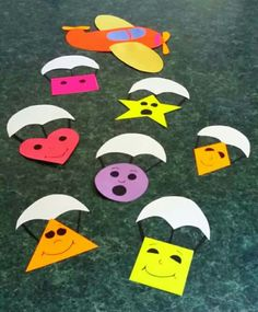 Parachuting shapes bulletin board #school