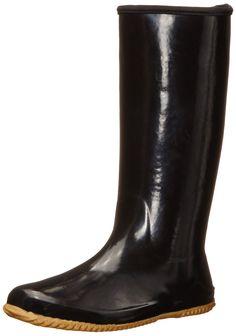 Chooka Women's Solid Packable Rain Boot, Black, 6 M US