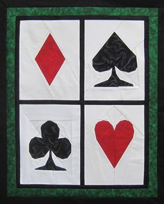 Aces High by designer Jennifer O. Paper piecing pattern on Craftsy. Paper Piecing Patterns, Quilt Patterns, Ace Card, Foundation Piecing, Poker Chips, Deck Of Cards, Quilt Making, Quilting Projects, Quilt Blocks