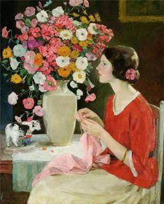 women sewing - beautiful painting by Karl Albert Buehr