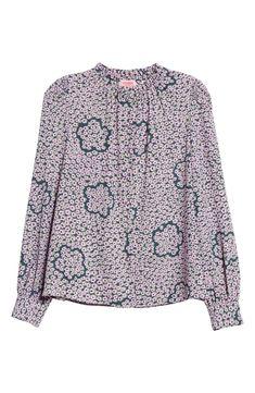 kate spade new york flair flora ruffle neck long sleeve blouse My Wardrobe, Pink Flowers, Floral Prints, Kate Spade, Pretty, Sleeves, Tops, Women, Fashion
