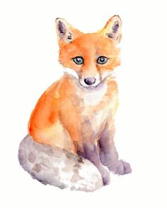 Red Fox Watercolor Print 8 X 10 by Marysflowergarden on Etsy, $12.00