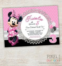 Items Similar To Chalkboard Minnie Mouse Invitation Birthday Turning TWO Pink