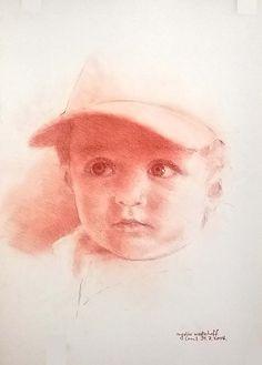 La gorra. The cap. Tiza sanguina sobre papel. Red chalk on paper.