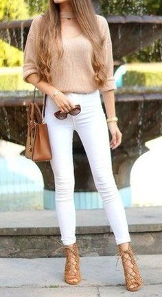 #fall #outfits Beige Top // White Skinny Jeans // Beige Laced Up Pumps // Camel Leather Shoulder Bag