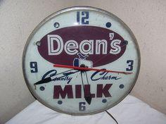 Dean's Country Charm Milk Vintage Clock  (Antique Dairy Farm Advertising Clocks, Light Sign)