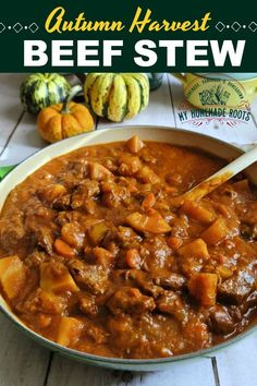 This Autumn Harvest Beef Stew, is an old-fashioned homemade beef stew. Filled with fall vegetables and tender chunks of beef, it's perfect when you're craving cool-weather comfort food. Slow Cooker Recipes, Beef Recipes, Real Food Recipes, Soup Recipes, Recipies, Copycat Recipes, Fast Dinner Recipes, Fast Dinners, Fall Recipes
