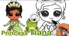 How to draw disney princess tiana cute step by step 'the princess Cute Disney Drawings, Disney Princess Drawings, Kawaii Drawings, Cool Drawings, Drawing Disney, Pencil Drawings, Frog Drawing, Drawing For Kids, Drawing Faces
