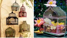 Bird cage is presenting vintage style and for those who love this kind of home appearance can find interesting DIY bird cage decoration ideas. Diy Bird Cage, Bird Cages, Bird Theme, Vintage Birds, Vintage Props, Vintage Ideas, Diy Wedding Decorations, Wedding Ideas, Floral Decorations