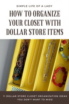 15 Simple and Smart Closet Organization Hacks from the Dollar Store - Simple Life of a Lady Small Space Organization, Planner Organization, Closet Organization, Organizing Tips, Playroom Storage, Craft Storage, Storage Ideas, Smart Closet, How To Organize Your Closet