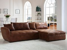 canapé d'angle vintage 5 places en ... - lincoln | 2!, leather ... - Wohnzimmer Vintage Style Braun