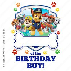 Paw Patrol Editable PDF [of the Birthday Boy Design] Instant Download by My Instant Party Company, $5.50 USD