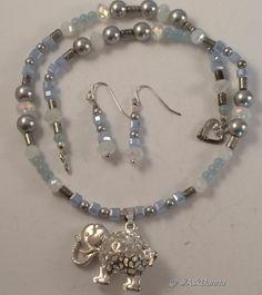 """Ornate Elephant 17"""" OOAK NECKLACE Earrings Set SWAROVSKI Silver Pearls  JCG  #Handmade"""
