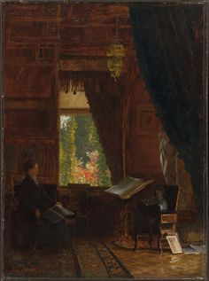 Albert Bierstadt (American (born in Germany), 1830–1902), Interior of a Library, about 1886.  Oil on paper mounted on aluminum.  49.53 x 35.56 cm (19 1/2 x 14 in.).  Museum of Fine Arts, Boston, 62.260.