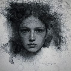"Portrait, girl, drawing, ""water"" marks, charcoals — Casey Baugh Fine Art"
