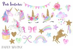 Watercolor Unicorn Party Clipart by PaperSphinx on Clipart, Watercolor Unicorn, Watercolor Flowers, Watercolor Art, Unicornio Birthday, Unicorns And Mermaids, Unicorn Face, Unicorn Birthday Parties, 3rd Birthday