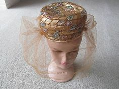Gold Veiled Pill Box Church Hat Jack McConnell Vintage Style w Sequences | eBay
