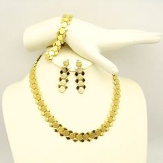 New in the #MyClassicJewelry @Etsy Shop! http://ift.tt/1rEdsaZ Vintage Necklace Bracelet Earrings Mid Century Hexagon Book Chain Set Gold Plated Links Dangles by MyClassicJewelry #GotVintage