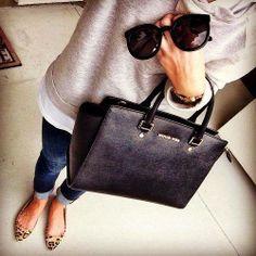 gray sweatshirt + leopard flats