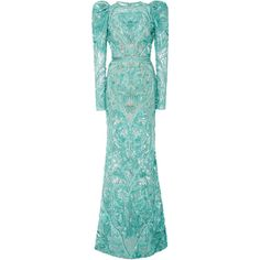 DELPOZO Beaded Embellished Gown (€3.255) ❤ liked on Polyvore featuring dresses, gowns, elie saab, long dress, blue, long dresses, collared dresses, blue gown, long blue dress and blue ball gown
