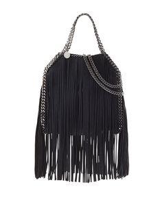 Falabella Mini Fringe Tote Bag, Black by Stella McCartney at Neiman Marcus.