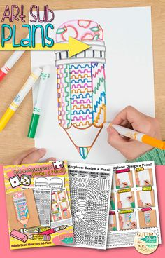 Need an easy, back to school art project for your upper elementary art students? They will have have a blast creating this awesome pencil. Students simply roll the dice to select the parts required to design it. And they'll pick up a new, no fuss art technique that you can do in your classroom with materials already on hand! Pair this with a writing activity and you have a beautiful bulletin board idea ready for the Fall. | Glitter Meets Glue Designs