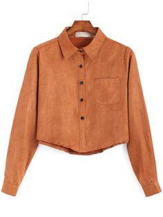Khaki Lapel Pocket Buttons Crop Blouse