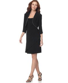 Alex Evenings Dress, Rhinestone Trim Cocktail Dress with Bolero Jacket - Womens Dresses - Macy's