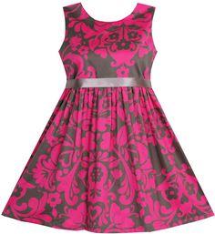 Girls Dress Sleeveless Elegant Pink Coffee Color Size 6 #SunnyFashion #Party