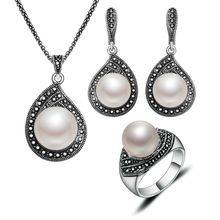 2016 Jewelry Sets Hight Quality Vintage Jewellery Antique Silver Plated Imitation Pearl Necklace Set For Women www.bernysjewels.com #bernysjewels #jewels #jewelry #nice #bags