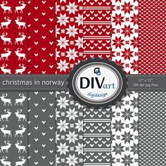 Printable scrapbook paper set for cards invitations by DIVart, $3.00