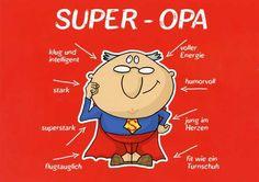Postkarte mit lustigen Sprüchen - Super-Opa Postkarten Lustige Sprüche