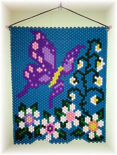 A very bright summery Butterfly Beaded Banner. size 15 X The colors are bright and colorful. Looks great hanging on a wall, door or in a window. Picture can be seen hanging in either direction. Pony Bead Patterns, Beaded Jewelry Patterns, Peyote Patterns, Beading Patterns, Cross Stitch Patterns, Quilt Patterns, Pony Bead Crafts, Seed Bead Crafts, Beaded Crafts